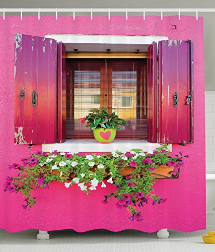 pink-shower-curtain-dreams-romantic-atmosphere-decor-lovers-house-wooden-windows-hearts-flowers-boug
