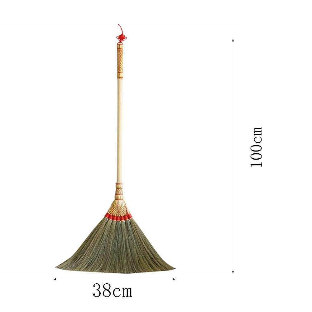 CAI - Straw Broom Long Wooden Handle Slender Bristles Soft Antistatic Clean Smooth Ground Hand Made (Natural, 100x38cm) by WEIFAN
