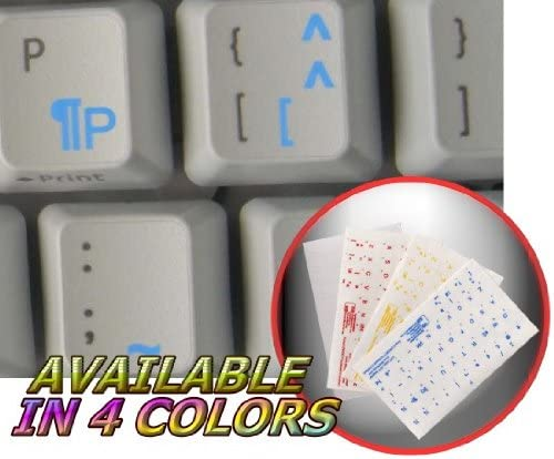 FRENCH QWERTY CANADIAN KEYBOARD STICKER WITH BLUE LETTERING ON TRANSPARENT BACKGROUND