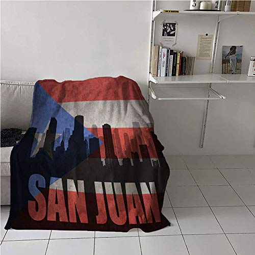 WilliamsDecor Puerto Rico Party Blanket,Abstract City Silhouette with San Juan Lettering Retro Style Flag Background,Warm Blanket,Microfiber All Season Blanket 70