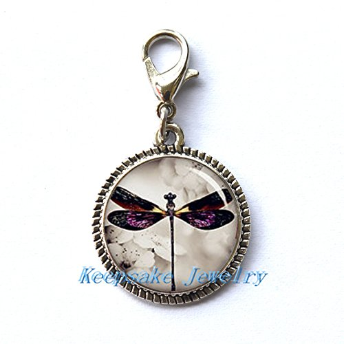 Dragonfly Zipper Pull,Perfect for Necklaces, Bracelets , keychain and earrings Charm planner charm Dragonfly handmade Jewelry]()