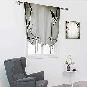 "Horror House Decor Kitchen Window Curtains, Crow Bird on Leafless Branch Cemetery Death Spirit Animal Evil Funeral Blackout Tie Up Panel, Sepia Black, 30"" x 64"""