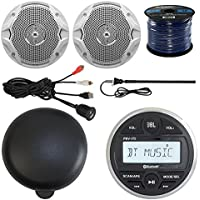 JBL PRV175 Guage Style AM/FM USB Bluetooth Marine Stereo 2x 6.5 Inch JBL Stereo Marine Speakers + Marine Speaker Wire, Enrock Universal USB AUX Input Interface Mount, Stereo Waterproof Cover, Antenna