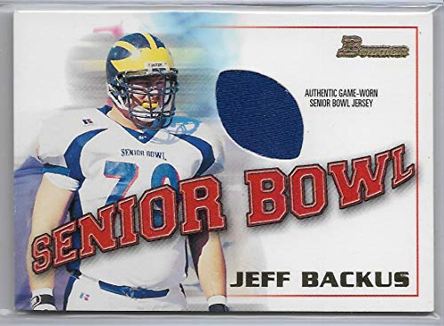2001 Bowman Football Jeff Backus Senior Bowl Game Jersey Card # BJ-JB ()