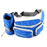 Dog Treat Training Pouch Bag, Hands Free Training Waist Bag for Camping Climbing Travel Cycling and Dog Walking, Bottle Holder, Build-in Poop Bag Dispenser Pouch, Adjustable Waist Belt