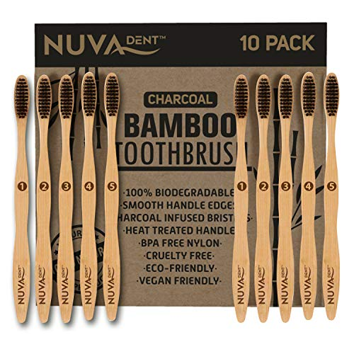 Bamboo Toothbrushes Charcoal Bristles- Biodegradable, Natural, Eco-Friendly, Compostable, Vegan (10 Pack)