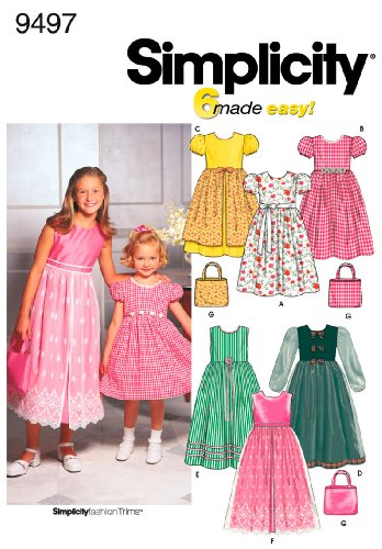 Simplicity Sewing Pattern 9497 Child/Girl Dresses, HH (3-4-5-6)
