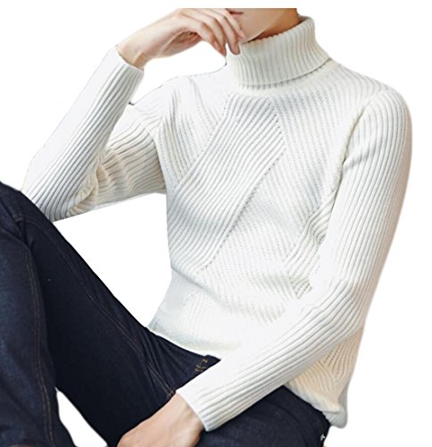 Turtleneck Pullover Men's amp;S M Thermal White Slim amp;W Fit Sweaters Cotton qFwX0