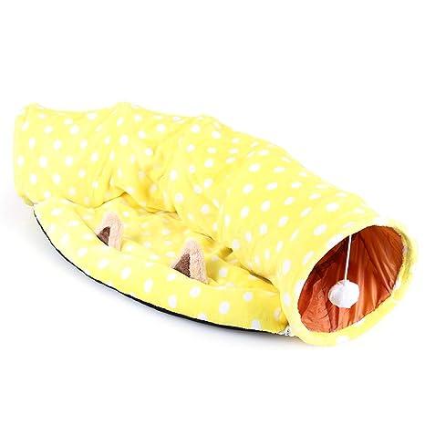 Tofree Saco de Dormir para Gatos o Gatos con tapete de túnel con Alfombrilla Central Suave