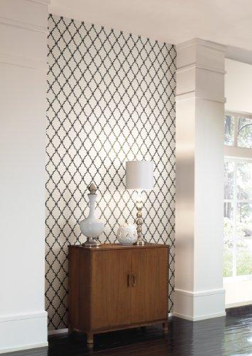 Jet Filigree - Wall In A Box WIB1015 Trellis Off Wallpaper, White, Jet Black
