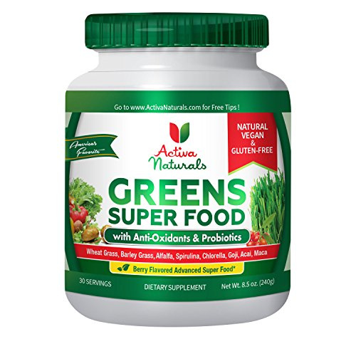Activa Naturals Greens Superfood Powder - Vegan & Gluten Free 8.5 oz (240 gm) - Raw & Organic Green Foods with Amazing Wheat Grass, Spirulina, Raspberry, Enzymes & Probiotics - Natural Berry Flavor (Vitaminerals Inc compare prices)