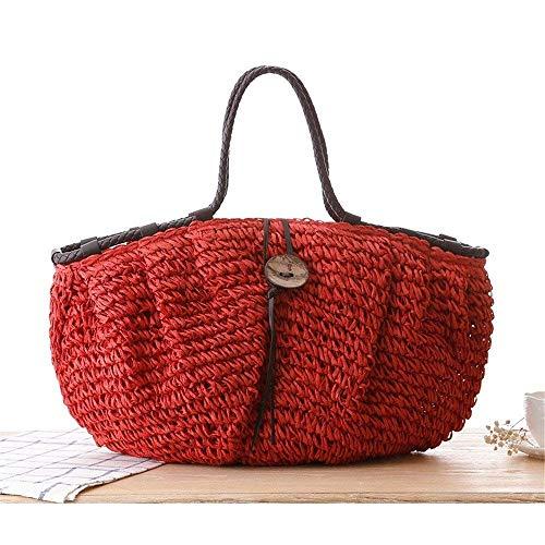 Del De Eeayyygch Paja Tamaño Vintage color Mujeres Rojo Hombro Bolso Las Beige wgHxqXZH