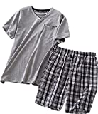 Amoy madrola Men's Cotton Soft Sleepwear/Short Sets/Pajamas Set SY227-V Grey-M