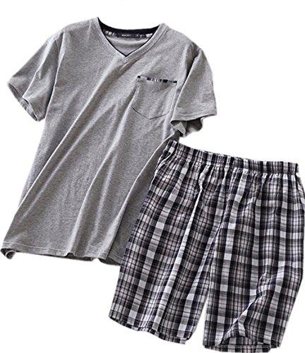(Amoy madrola Men's Cotton Soft Sleepwear/Short Sets/Pajamas Set SY227-V Grey-M)