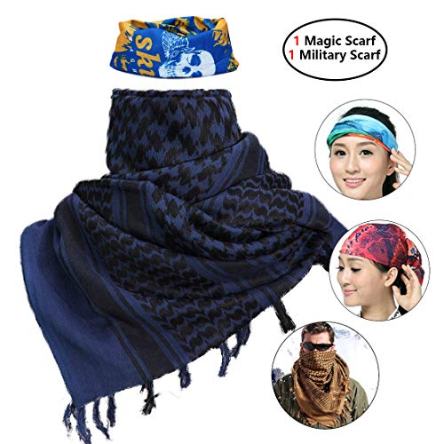 iMucci 43'x43' Arab Tactical Scarf 100% Cotton - Desert Military Shemagh (Navy Blue)