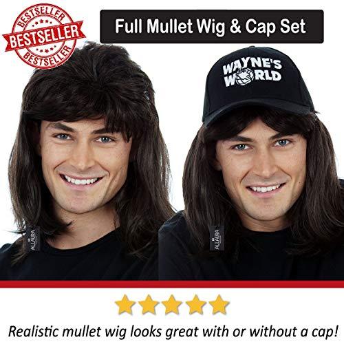 e2c8cd546ec47 Waynes World Wig with Hat – Wayne Campbell Hair Cap - Black Mullet Wigs Men  80s