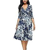 2018 Digital Print Dress Dress Summer Big Swing Skirt Female Blue Blue Flower L