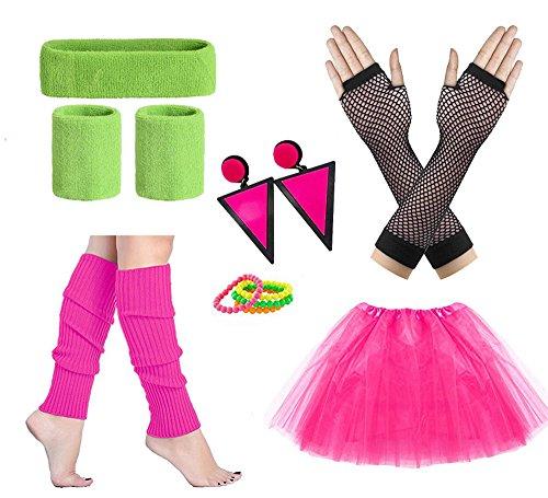 Cizoe 80s Fancy Outfit Costume Accessories Neon Earrings Leg Warmers Gloves Tutu Skirt (80D) -