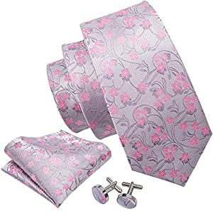 Barry.Wang Flower Ties for Men Handkerchief Cufflinks Set Wedding Necktie Set