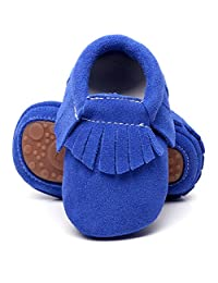 HONGTEYA Leather Baby Moccasins Hard Soled Tassel Crib Toddler Girls Boys Baby Shoes