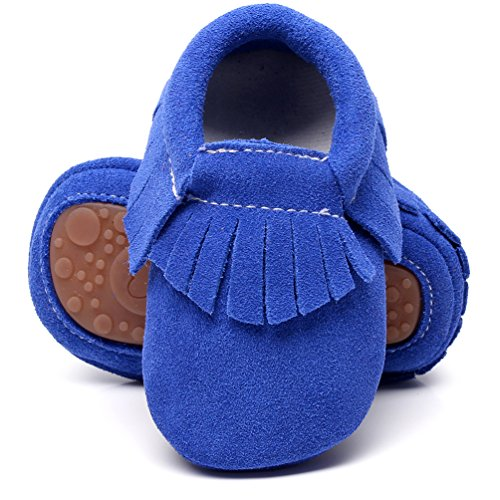 HONGTEYA Leather Baby Moccasins Hard Soled Tassel Crib Toddler Shoes for Boys and Girls (18-24 Months/5.51inch, Suede Blue)