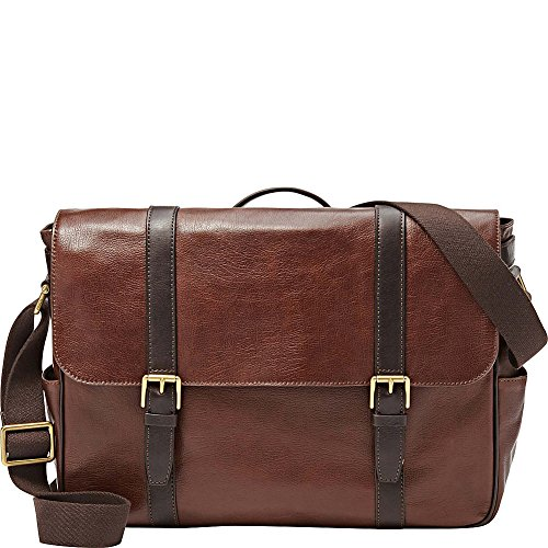 Fossil Men's Estate Leather East-West Messenger Bag, Dark Brown by Fossil