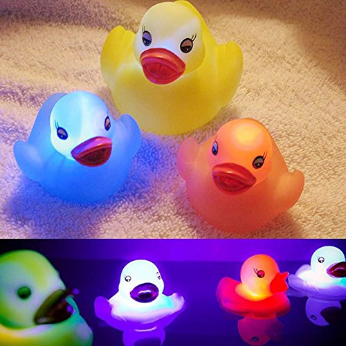 Fairylove 1pcs Toys Floating Bath Toy,Can Flashing Colourful Light Bath Toy, Light Up Baby Shower Bathtime Bathtub Toy For Bathroom Kid Boys Girl Toddler Child,Rubber (Light Up Rubber Ducks)