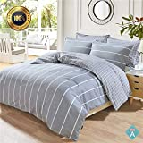 Taiyihome 5-Piece Duvet Cover Set,100% Cotton,Reversible Soft Gray Duvet Cover,Hypoallergenic(2,Queen)