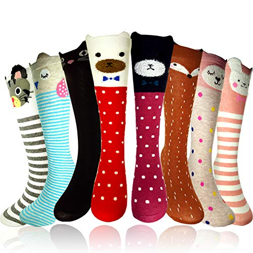 Girls Socks - Little Girls Knee High Socks, Kids Cartoon Animal Cotton Stockings by GUOMAN