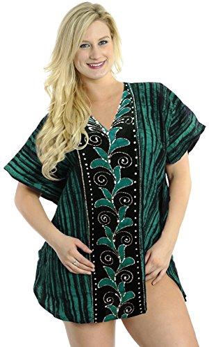La Leela 100% vestido de noche remolino del batik de algodón estampado corto caftán caftán Verde