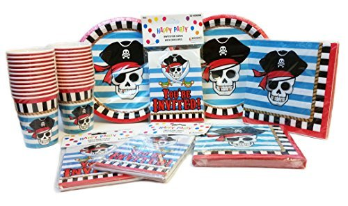 Pirate Themed Birthday Party Pack. Contains 24 Pirate Party Invitations. 32 Pirate Party Plates. 40 Pirate Napkins and 24 Pirate Party Cups.