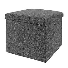 Seville Classics Foldable Storage Cube/Ottoman, Charcoal Grey