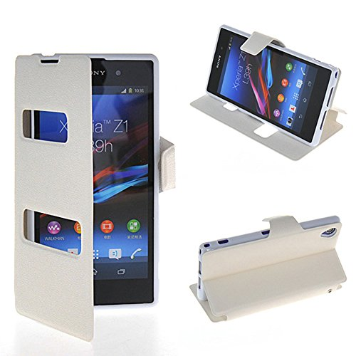 Xperia Z1 Case,COOLKE [White] WHITE View Window Wallet Flip Leather Case Cover For Sony Xperia Z1 L39h