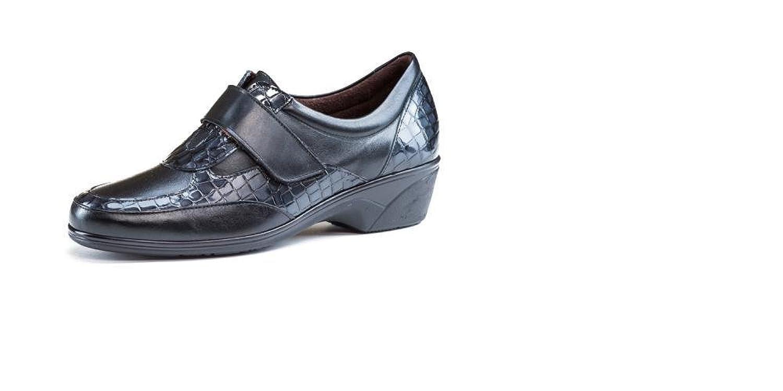 Zapatos cómodos mujer PITILLOS - Plantilla extraible - Piel negro combinado charol coco, cierre velcro - 1816 - 99: Amazon.es: Zapatos y complementos