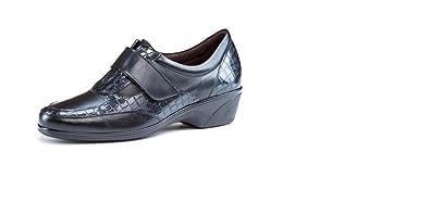 Zapatos cómodos mujer PITILLOS - Piel negro combinado charol coco, cierre velcro - 1816 -