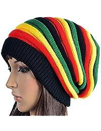 HZYFP Multi-Colour Jamaican Rasta Hat Slouchy Baggie Beanie Knit Gorro Reggae Cap