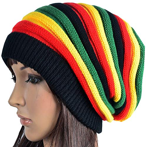 (HZYFP Hand Crochet Knit Slouchy Dread Rasta Reggae Hat with Stripes for Women Men)