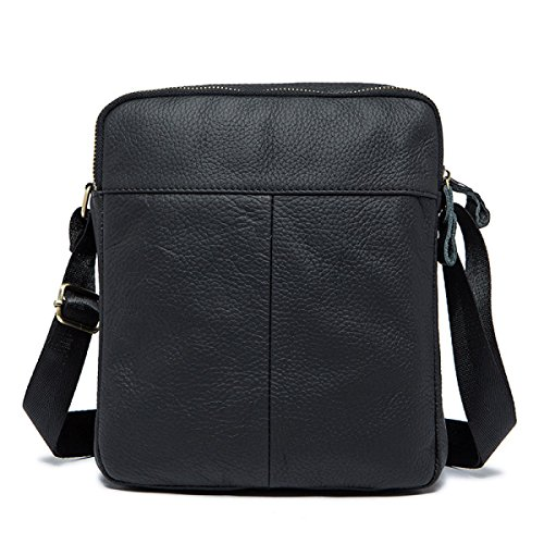 Size Handbag Men Adjustable Black Messenger With Leather Business Shoulder Ipad And Bag Backpack Baafg Large Strap 6ASdxqnA