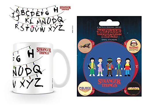 1art1 Set: Stranger Things, Lights, Light Bulbs, Letters, Alphabet Photo Coffee Mug (4x3 inches) and 1 Stranger Things, Sticker Adhesive Decal (5x4 inches)