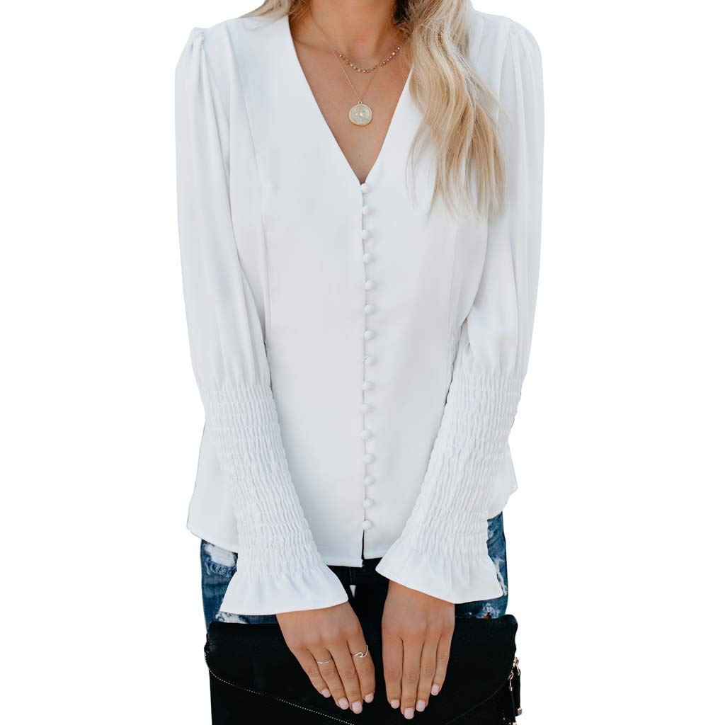 Women Vintage White Shirts Casual Solid Long Sleeve Button V Neck Blouse Fashion Elastic Waist Tops(white,XL) by iQKA (Image #3)