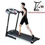 Treadmill Home Fitness Training Equipment Electric Running Jogging Machine Folding Treadmill(US Stock) (Black1)