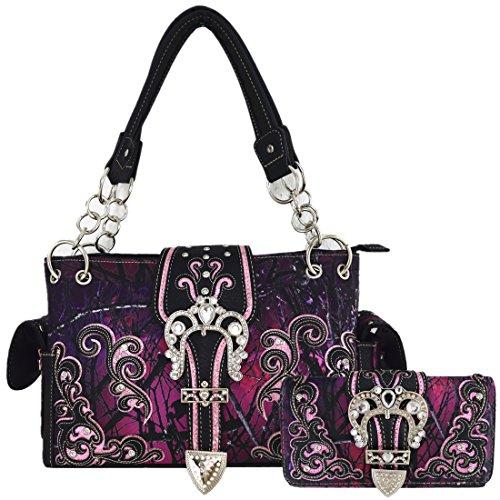 Camouflage Womens Handbag (Camouflage Belts Buckle Western Style Concealed Carry Purse Country Handbag Women Shoulder Bag Wallet Set (Purple Set))