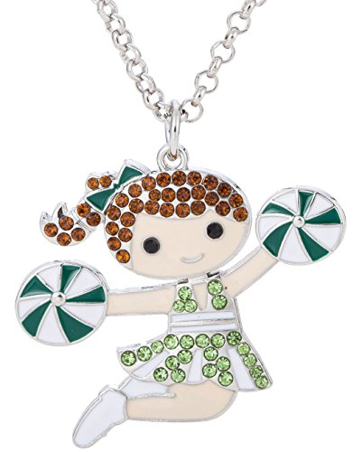 Crystal Cheer Girl Pendant Necklace for Girl Women Gifts Jewelry (chestnut hair+green) (Enamel Number Pendant)