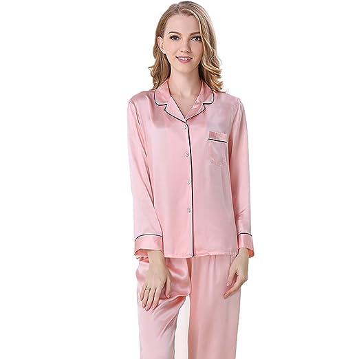 Falaishuka Women s 100% Pure Silk Pajamas Set V Neck Long Sleeve Mulberry  Silk at Amazon Women s Clothing store  a1c0e5d24