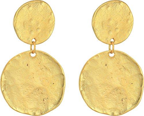 Satin Earring Womens (Kenneth Jay Lane Women's Satin Gold Coin Double Drop Pierced Ear Earrings Satin Gold One Size)