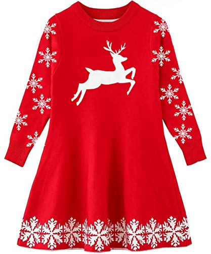 Funnycokid Girls Ugly Christmas Dress Long Sleeve Xmas Snowflake Deer Sweaters for Holiday Party Gifts 8t (Knitted Christmas Dress)