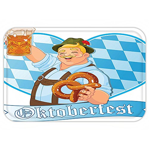 Easy Halloween College Costumes Guys (VROSELV Custom Door MatOktoberfestDecoration Collection Oktoberfest Guy Celebrating Enjoying Entertaining Beer Fest National HolidayBrown Blue)