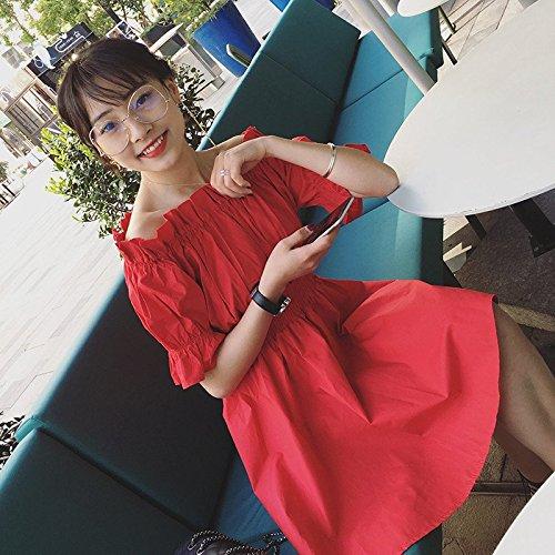 Femme Une Jupe Rouge tudiants Une l'paule des vtements Paire d't de L MiGMV Gueules d'paules de Corps l't Robes de Robe du des de la Taille HRUA5wnxwq
