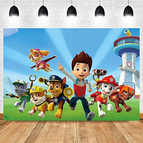 MMY 5x3ft Cartoon Dogs Paw Patrol Photography Backdrop Baby Shower Kids Birthday Party Background Photobooth Props Vinyl Banner Supplies]()