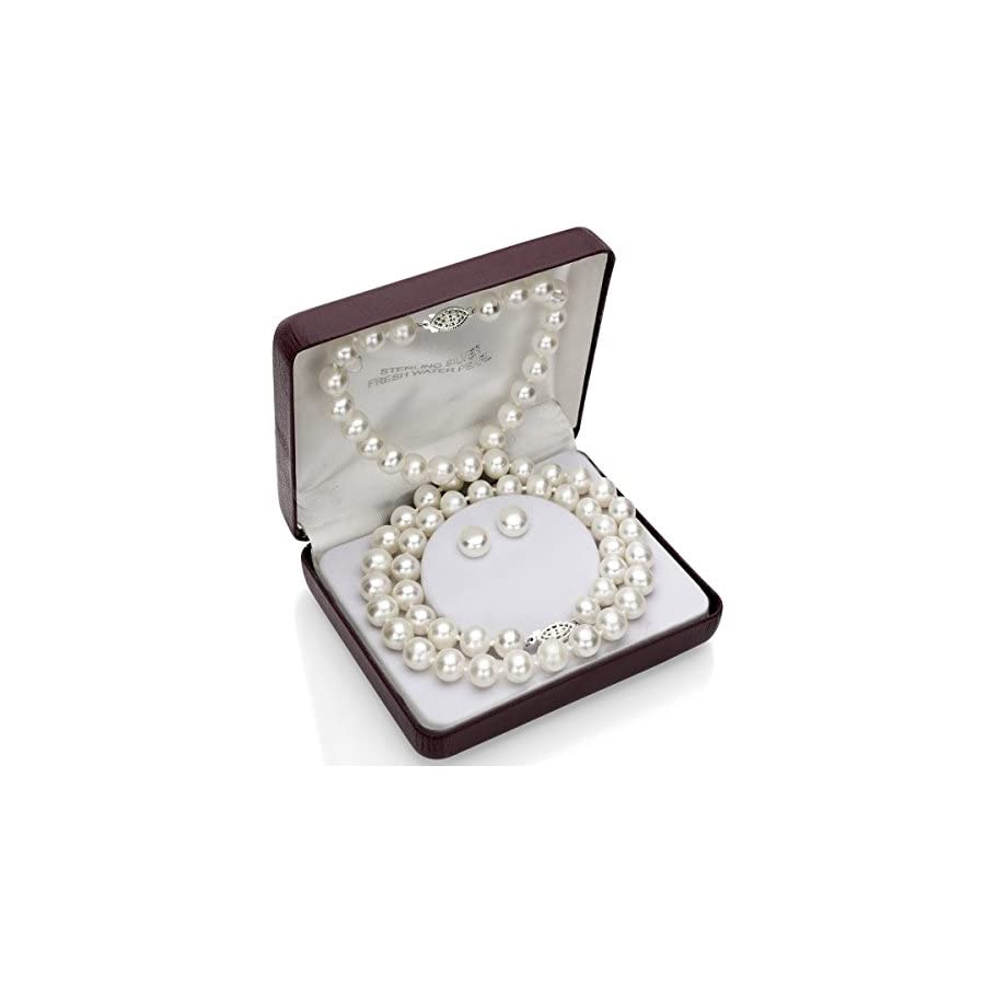 "Sterling Silver 9 9.5mm White Freshwater Cultured Pearl Necklace 18"", Bracelet 7"" and Stud Earrings"